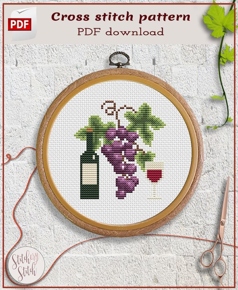 Red wine cross stitch pattern  Grape cross stitch chart  image 0