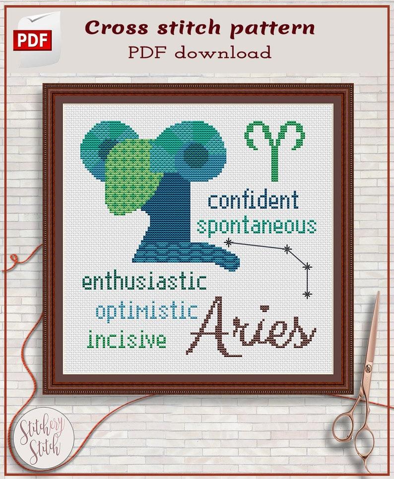 Aries cross stitch pattern by Stitchery Stitch image 0