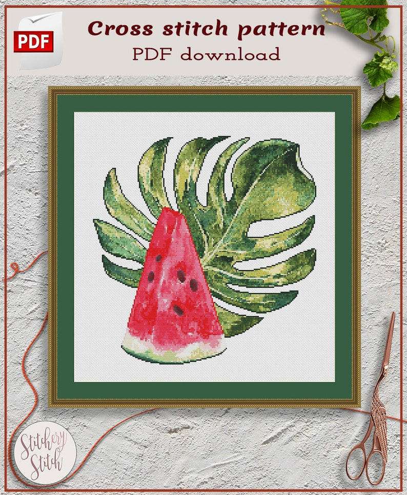 Juicy Red Watermelon cross stitch pattern by Stitchery Stitch image 0