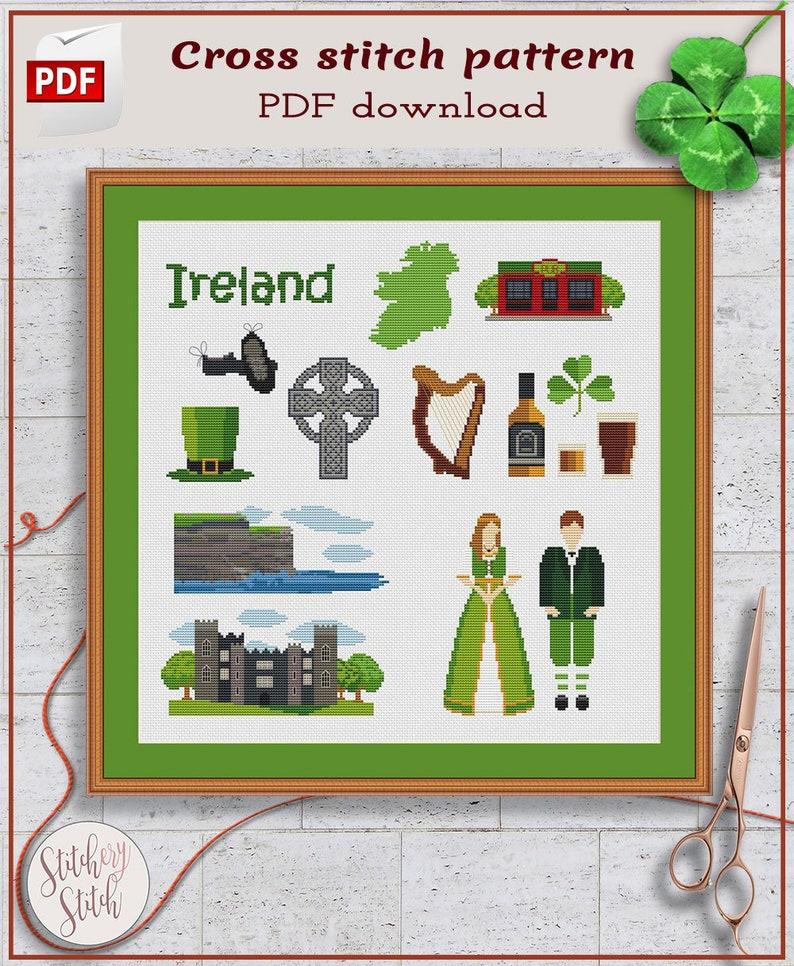 Ireland cross stitch pattern  Irish cross stitch chart  image 0