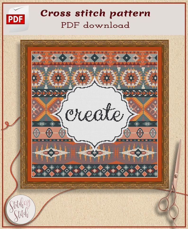 Ethnic cross stitch pattern Choose words image 0