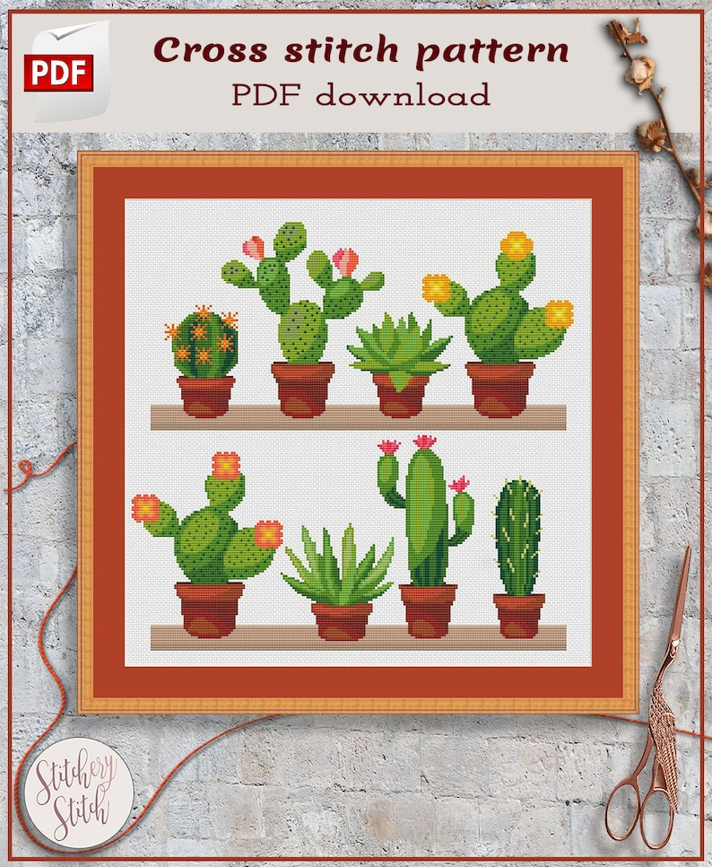 Cactus cross stitch pattern  Succulent cross stitch chart  image 0