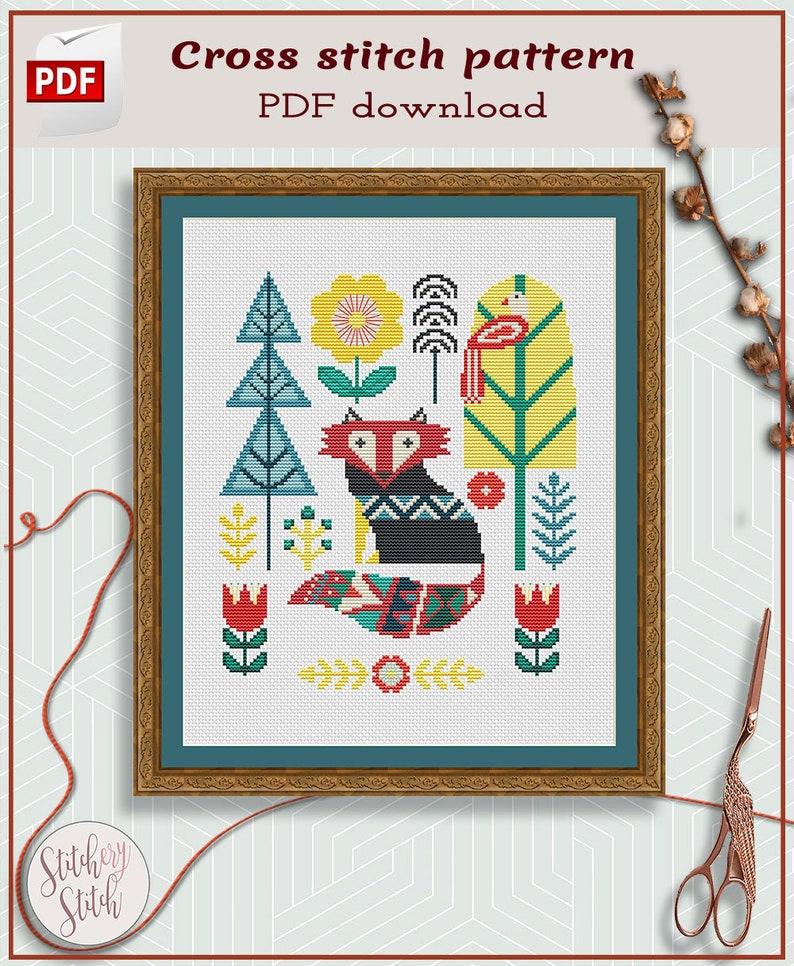 Fox cross stitch pattern  Folk art cross stitch  image 0