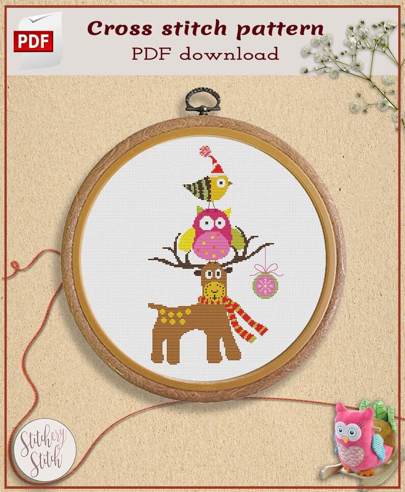 Christmas animals cross stitch pattern  Xmas cross stitch image 0