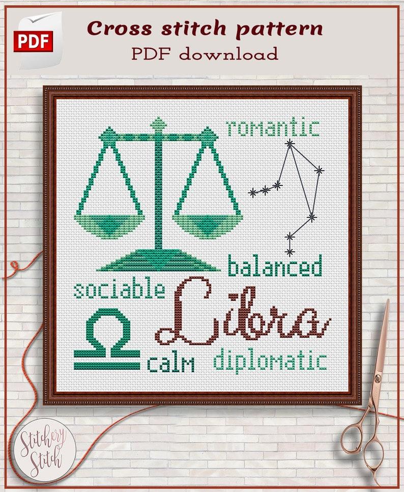 Libra cross stitch pattern by Stitchery Stitch  4 palettes image 0
