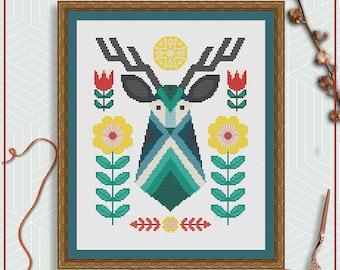 Deer cross stitch pattern | Folk art cross stitch | Scandinavian cross stitch PDF