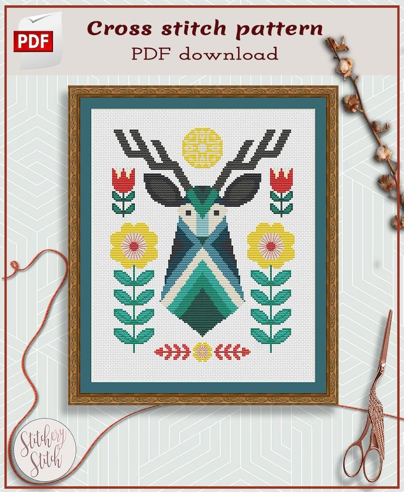 Deer cross stitch pattern  Folk art cross stitch  image 0