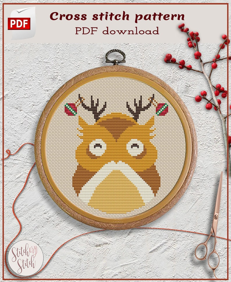Easy Christmas owl cross stitch pattern by Stitchery Stitch image 0