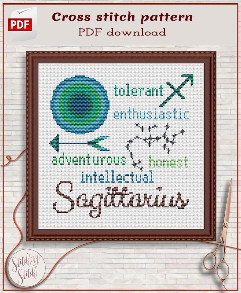 Sagittarius cross stitch pattern by Stitchery Stitch image 0