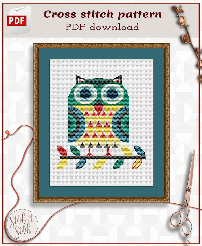 Owl cross stitch pattern  Folk art cross stitch  image 0