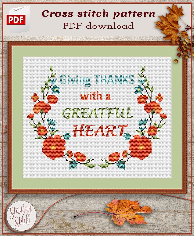 Thanksgiving cross stitch pattern PDF by Stitchery Stitch image 0