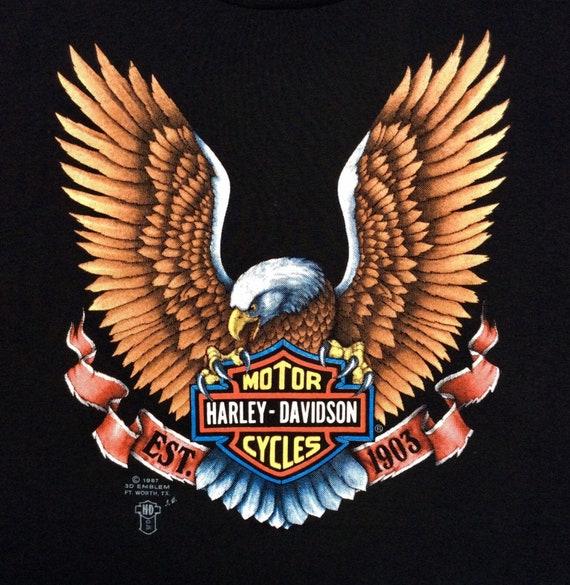 Vintage 1987 Thrashed 3D Emblem Harley Davidson Eagle Righteous Ruler T-shirt  size M   L