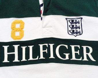 TOMMY HILFIGER RUGBY Polo Vintage Sport Stadium Baseball Sweatshirt