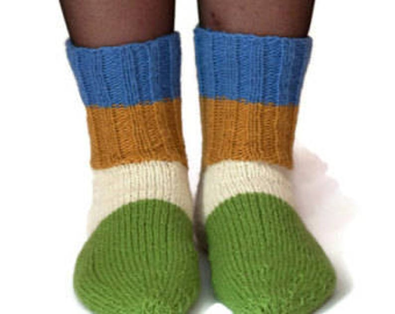 Blue white mustard green color 100% pure wool socks trends ...