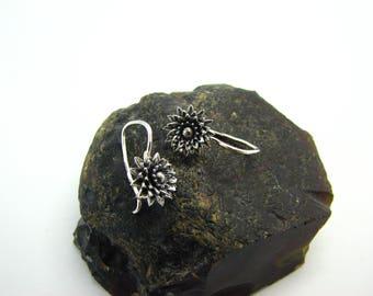Flowers  Earrings soviet russian silver 875