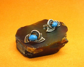 Flowers Earrings turquoise imitation soviet russian silver 925
