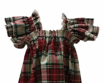 Christmas Plaid Ruffle Dress