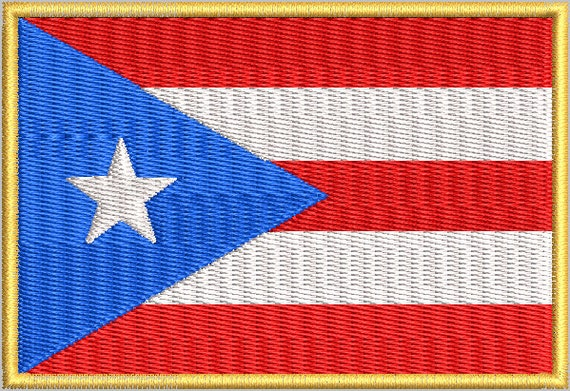 Puerto Rico Flag With Border Embroidery Design