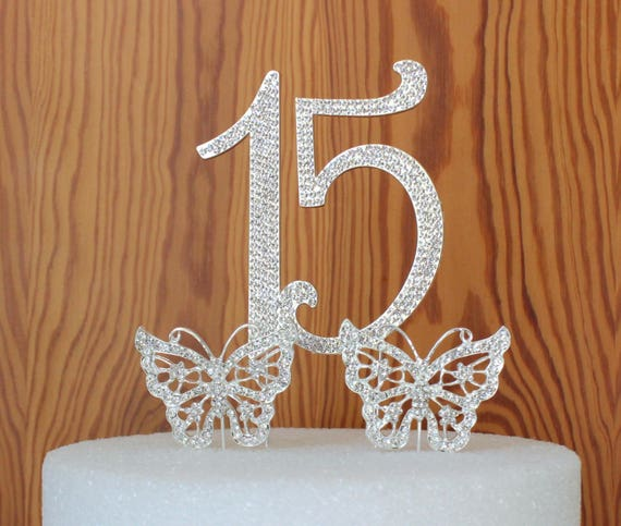 Quinceanera 15 Elegant Birthday Cake Topper In Silver Crystal