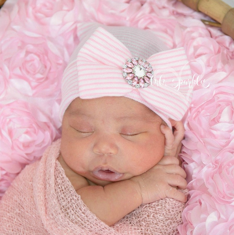 0da1ae4044d Infant newborn baby girl pink hat cap. hospital beanie . bow
