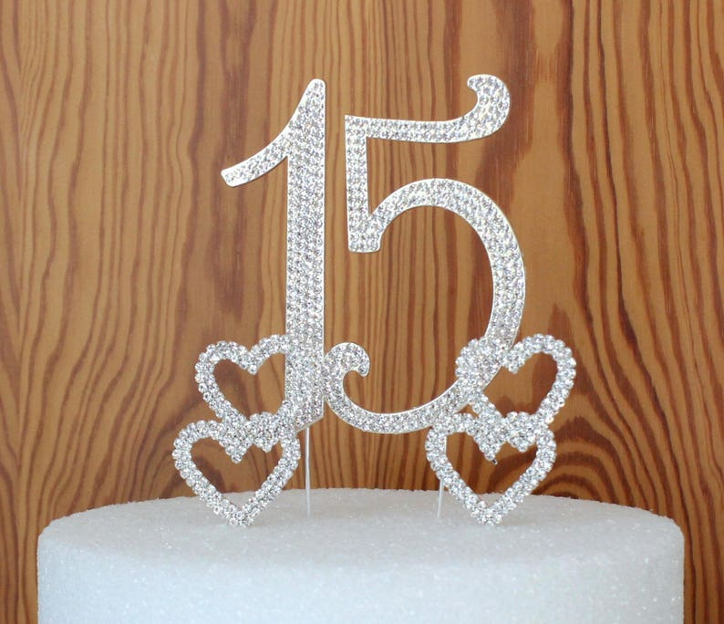 Quinceanera 15 Elegant Birthday Cake Topper Made With Silver