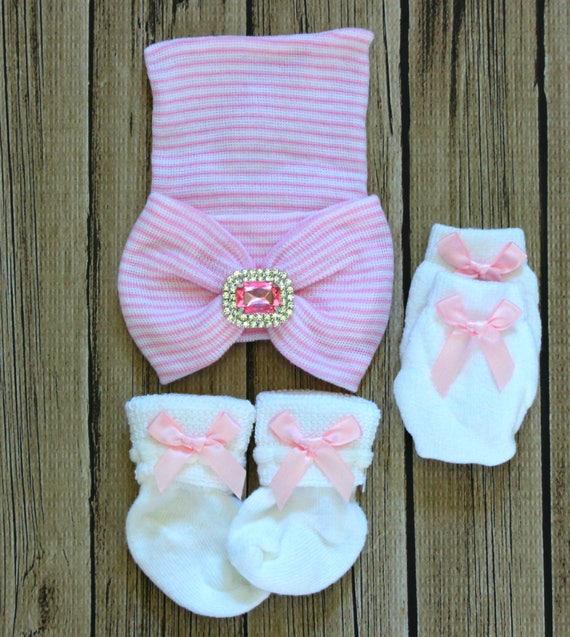 Bébé nouveau-né fille chapeau rayé rose bonnet hôpital enfant   Etsy 08e7b806824