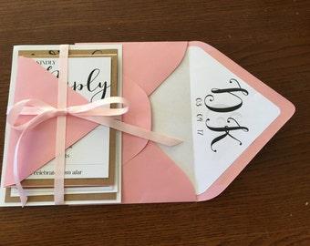 Rustic & Pink Wedding Invitation