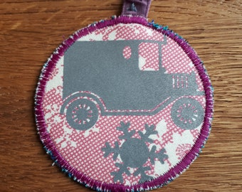 Ford model T and wheel Safety Reflector, Retro-reflector, up-cycled fabric and reflective fabric, Handmade in Norway.