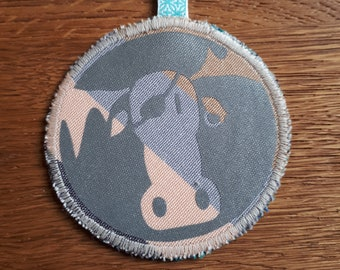Moose and snow Safety Reflector, Retro-reflector, up-cycled fabric and reflective fabric, Handmade in Norway.
