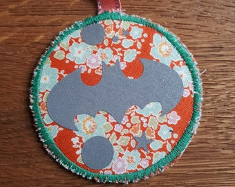 Bat Safety Reflector, Retro-reflector, up-cycled fabric and reflective fabric, Handmade in Norway.