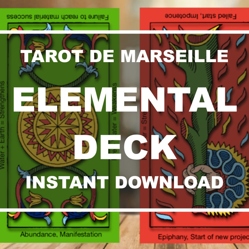 Tarot Cards Printable Paper Tarot de Marseille with Meanings image 0