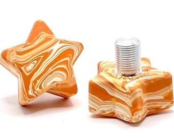 ROLLERSTUFF TWINKLE TOES Star Toe Stops, Orange Marble-ade (Pair)