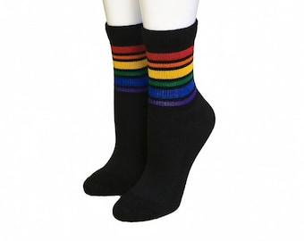 90849d3affc Rainbow   White Stripe Knee High Pride Socks  12.00. Black Rainbow Stripe  Low Cut Pride Socks