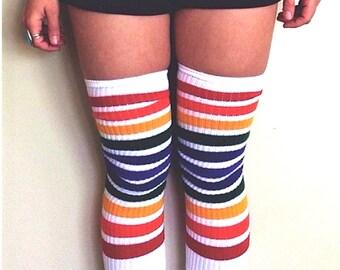 912cd8f9577 White Double Rainbow Stripe Thigh High Pride Socks