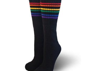 42c57f2e022 Black Rainbow Stripe Under the Knee Pride Socks