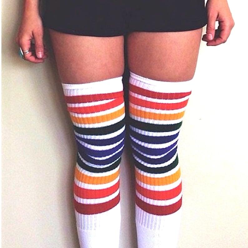 cb5dd2fbf87 White Double Rainbow Stripe Thigh High Pride Socks