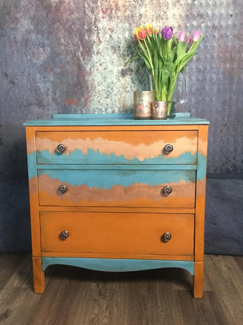 Sold Hand Painted Vintage And Funky Chest Of Drawers Sold