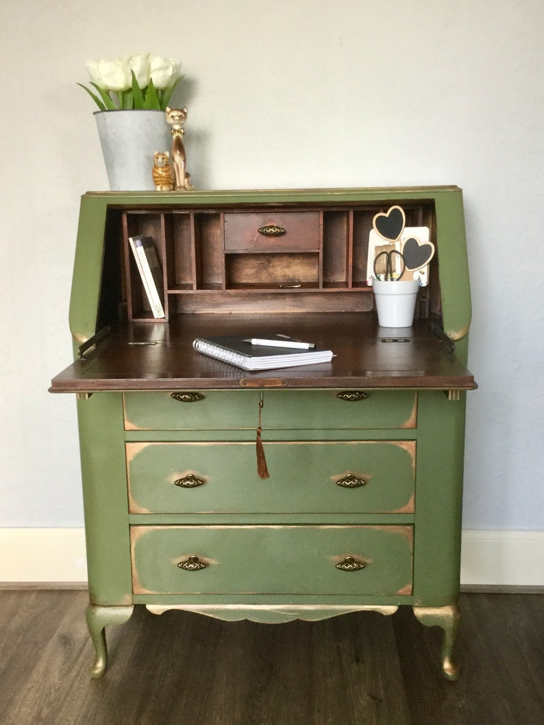 Sold Hand Painted Vintage Lebus Bureau Desk Sold