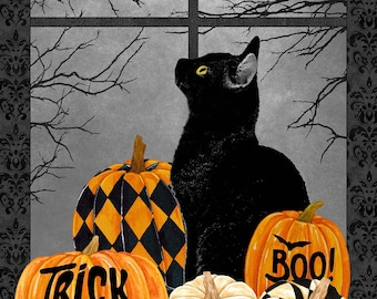 """Black Cat Capers - 24"""" X 43"""" Panel - Black Multi - 24114-99 - Northcott - Fabric - Sold by the Panel"""