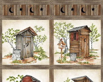 """Out Houses Panel - Nature's Calling - Beige Multi - 24034-12 - Northcott - Fabric - Sold by the 21"""" Panel"""