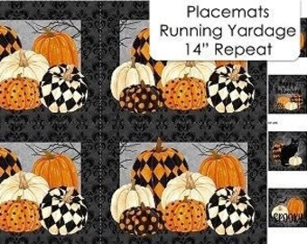 """Black Cat Capers - Placemats - 14"""" X 43"""" Panel - Black Multi - DP24127-99 - Northcott - Fabric - Sold by the Panel"""