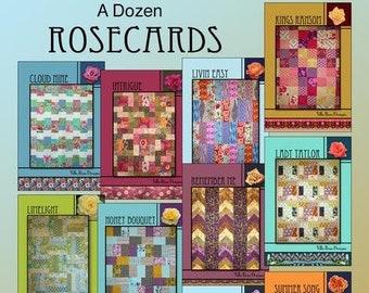 One Dozen Rosecards Set Two by Villa Rosa Designs - 12  Quilt Patterns for 12 Fat Quarters