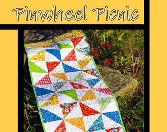Pinwheel Picnic Table Runner Quilt Pattern from Villa Rosa Designs