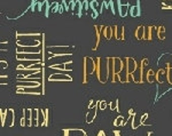 Purrfect Day - Purrfect Words - 52373-2 - Windham - Fabric - Sold by the Half Yard