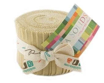 """Bella Solids Junior Jelly Roll - Parchment - 20 pc - 2 1/2"""" X 44"""" - 9900JJR 39 - Moda - Fabric"""