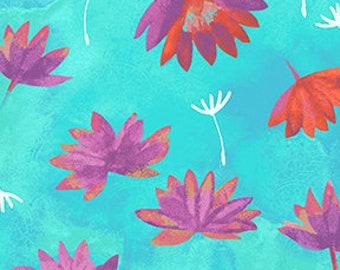 Water Lillies - Good Vibes - Aqua - Y3120-33 - Sue Zipkin - Fabric - Sold by the Half Yard & Fat Quarter