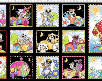 "Go Doggie - Panel 24"" X WOF - Black - 692-413 - Loralie Designs - Fabric-Sold By The Panel"