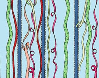 Just What I Wanted Ribbon Stripe by Anita Jeram - Denim - Y2978-87 - Clothworks - Fabric - BTY - HY - FQ