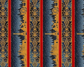 Winter Around the World - Skylines - Blue - 2WAW 1 - In The Beginning - Fabric - Sold by the Half Yard