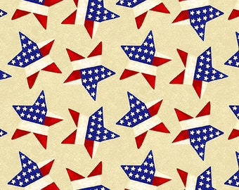 Land of the Free - Tossed Stars - Cream - 1831 47 - Henry Glass - Fabric - BTY, HY & FQ